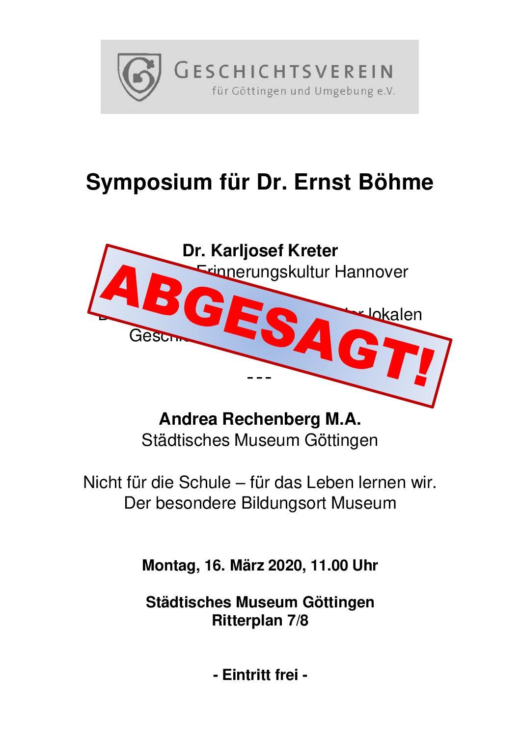 ABGESAGT! – Symposium für Dr. Ernst Böhme